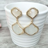 Dangle & Chandelier 1 Pair Natural Opal Earrings CZ Crystal Zircon Micro Pave Gem Stone Earring,Cat Eyes' Jewelry ER248