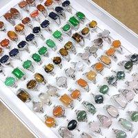 50pcs / lot coloré sonneries de pierre naturelle pour femmes dames pierres précieuses bijoux de mode joint styles styles de la Saint-Valentin