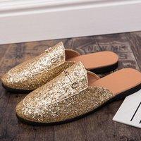 Deat 2020 Novos Deslizadores de Verão Fashion Heel Livre Lazy Pointed Anti Skidding Lantejoulas fora dos sapatos Mulheres SE622 O22R #
