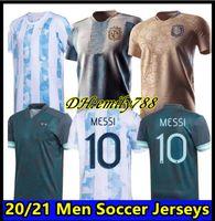 Argentinien Fußball Jersey 20 21 Copa Home Away Football Hemd 2020 2021 Messi Dybala Aguero LO Celso Martinez Tagliafico Männer Fanspielerversion Uniformen