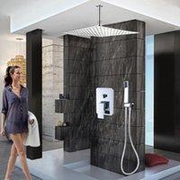 크롬 샤워 꼭지 12 인치 비가 머리 욕조 시스템 핸드 샤워 욕실 세트와 단일 핸들 믹서