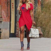 LOVE Pattern Womens Cross Dresses Fashion Trend Short Sleeve Candy Color Casual Skirts Designer Summer Female Plus Size Slim Dress