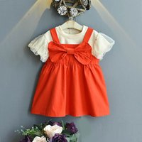 Clothing Sets Girls Outfits Baby Clothes Children Suits Kids Wear Summer Cotton Short Sleeve Lace T-shirts Sweet Braces Dress 2Pcs 2-6Y B5195