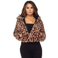 Autumn Winter Leopard Jacket Women Hooded Faux Fur Coat Leopard Print Long Sleeve Side Pockets Casual Crop Overcoat ZHL5906