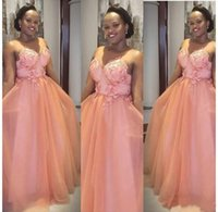 Peach Wedding Guest Prom A Line Sheer Jewel Neck Floral Appliques Lace Bridesmaid Dresses Plus Size African Formal Wear Wedding Guest Dresses M137