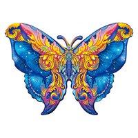 Butterfly деревянные животные джунглей DIY головоломки Jigsaw для взрослых и детей образовательные игры подарок мультфильм игрушка