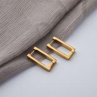 Geometric Charm gold Earrings Rectangular Womens metal titanium steel New trendy jewelry