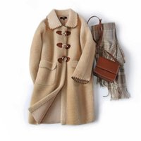Women's Wool & Blends 2021 Quality Imitation Mink Woolen Coat And Fur In One Hit Color Casual Mid-length Female Autumn Winter Style B077