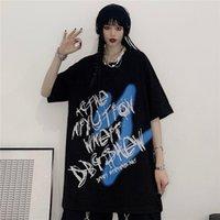 Women's T-Shirt T-shirts Women Letter Printed Short-sleeve High Street Korean Fashion Summer Punk Casual Oversized Top Graphic Tee Woman