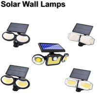 LED Solar Lamps Wall Light Rotatable 3 Modes PIR Motion Double Head Path Garden Outdoor Lighting