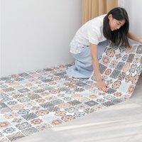 Self Adhesive Mosaic Thicken Tile Floor Kitchen Bathroom Vinyl Wallpaper Waterproof Peel Stick PVC Panel Sticker