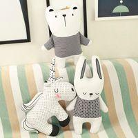 Lucky Boy Boy Sunday Unicorn Кролик Медведь Хлопчатобумажная подушка Подушка мягкая аппликация Кукла Животные плюшевые игрушки Детская комната Украшения детей подарок