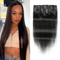 Brazilian Straight Clip In Human Hair Extensions 8 Pieces Set 120G Natural Black Color 8-24 Inches Remy Wefts For Women
