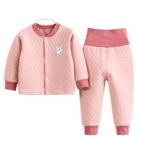 Pajamas Children Thermal Suit Winter Thicken Warm Clothes Baby Boys Cotton Cardigan Underwear Girls High Waist Sleepwear Suit0-4Y