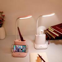책 조명 USB 충전식 LED 데스크 램프 감동 디밍 조정 테이블 전화 홀더 팬 브러시 냄비 읽기 빛