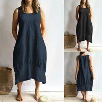 Мода Женщины без рукавов Maxi платье Celmia Vintage Bilen Strappy повседневная свободные длинные Vestidos женский твердой работы халат 2021 # T2Q платья