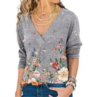 Women's Blouses & Shirts Casual Loose Ladies Cotton Long Sleeve Tops T Shir V Neck Floral Print Women Blouse Autumn Winter Pullover