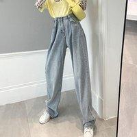 Limiguyue Cintura alta Pantalones rectos Mujeres Boyfriends Mamá Jeans suelta Vintage Pierna ancha Denim Jean Baggy Y2K Pantalones K708
