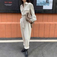 Alien Kitty L2021 Neue Herbst Langarm Runnel Frauen Casual Jumpsuits Hohe Taille Corduroy Strampler Overalls Solid Office Dame