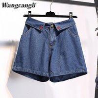 Wangcangli 2021 verão feminino jeans de cintura alta denim shorts relaxado largo perna calças plus size