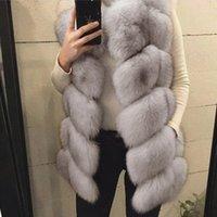 Womens Winter Faux Fox Fur Waistcoat Jacket Coat Vest Gilet For Women Warm Long Sleeveless Jacket Outwear Long Slim Fur Vest
