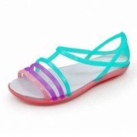 Droshipping جديد 2020 حجم كبير الصنادل سميكة الانزلاق على امرأة مكافحة الانزلاق هول جيلي روز الأحذية شقة حديقة شاطئ أحذية أحذية H359 #