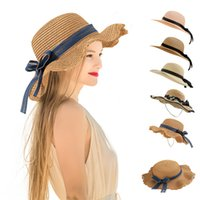 Party hat outdoor travel straw cap fashion women's shading caps breathable sun protection Wide Brim Hats DD312
