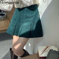 Nomikuma Vintage Corduroy High Waist Women Skirt Causal Pleated A-line Mini Skirts New Fashion Solid Faldas Mujer 6D968 210427