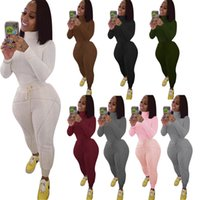 Fall Winter Womens 2 piece tracksuits suits ribbed plush thick sportswear high neck slim t shirt skinny leggings outfits set casual clothes sports plus size clothing