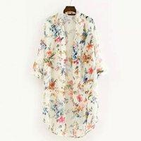 Vintage Floral Chiffon Shirts Women Loose Shawl Kimono Cardigan Blouse Boho Tops Long Sunscreen Jacket Femme Women's Blouses &