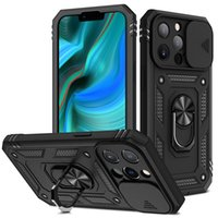 Kickstand Phone Cases For Iphone 13 Pro Max Mini 12 11 XSMAX XR XS X 8 7 6 SE Slide camera lens protection Cellphone Case Magnetic Car support Back Cover