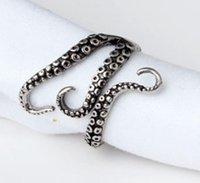 Новая мода унисекс ретро регулируемый посеребренный океан осьминог щупальца палец открытое кольцо ювелирные изделия PS1662