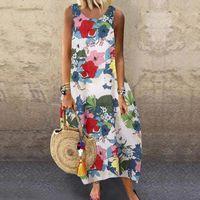 Annelik Elbiseler Vintage Floar Elbise Kadın Kolsuz O-Boyun Çiçek Baskı Artı Boyutu Gevşek Maxi Vestido-Fiesta Talla Grande Verano