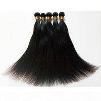 Brésilien péruvien indien malaisien chèvre humain tissé non transformé 4 pcs lot extensions de cheveux 8-30inch double trame remy cheveux droits