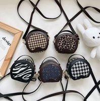 Designer girls leopard zebra shell handbag 2021 children denim letter messenger bags kids Plover case circular single shoulder bag A7889