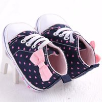 First Walkers Walker Baby Girls Cotton Shoes Canvas Dots Bow Toddler Booties Soft Sole Born Boys Sport Sneakers Fashion