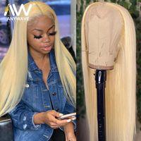 Miel rubia 28 30 32 pulgadas Straight 13x4 Transparent HD Glueless Frente de encaje Pelucas de cabello humano para mujer negra Preparentada Remy Remy