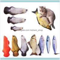 Toys Supplies Home & Garden30Cm 40Cm Soft Plush Creative 3D Fish-Shaped Gift Cat Mint Fish Filled Pillow Doll Simulation Dog Toy Pet Drop De