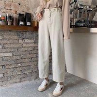 Mazebeng Neue 2020 Frauen Jeans Reißverschluss Gerade Freunde Koreanische Stil Hohe Taille Knöchellangen Hosen Damen Denim Jeans