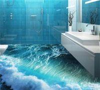 Piso personalizado Mural 3D Océano estereoscópico Dormitorio de agua de mar Dormitorio Piso de baño PVC impermeable autoadhesión Murales Fondo de pantalla 684 v2