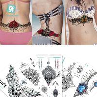 Petto / schienale / Pancia / Vita Tatuaggio temporaneo Ampio modello Adesivo Adesivo Braccio Sternum Tatuaggi Sexy Henna Body Paint per donna