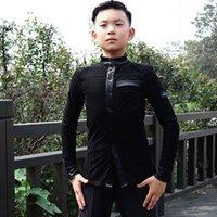 Çocuk Latince Dans Üst Kış Kadife Uzun Kollu Yarışma Gömlek Erkek Rumba Cha Tango Salsa Performans Giyim DN4173