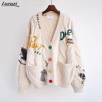 Женские вязаные тройники Luzuzi осень зима женщины кардиган теплый вязаный свитер куртка вышивка мода вязать кардиганы пальто леди свободный пот