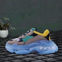 Cesto de compras Luxurys Designers Balencaiga Feminino Plataforma Sapato Tribunfo S Branco Preto Verde Cristal Sole Homens Casuais Sapatos de Esportes Tamanho 36-45