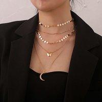 collar de joyería de moda con incrustaciones de diamante de diamante colgante de la media luna de las mujeres de la pieza redonda de la cadena de la cadena del tubo recto collar de múltiples capas