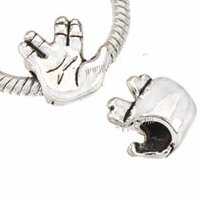 Wholesales Beads Charms For DIY Bangles Thailand Silver Hand Live long and prosper Loose Big Hole Alloy Jewelry Findings 12mm 100pcs