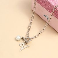 necklace gold cross chain fashion advanced pearl light luxury style 26 letter tassel Sier Nelace