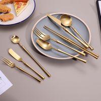 Mat goud unieke bestek set diner vork messen lepel 304 roestvrijstalen servies set eetstokjes set dropshipping
