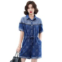 Women's Tracksuits Large Size Short-Height Printed Embroidered Denim Jumpsuit Women 's 2021 Summer Shirt Collar Tight Waist Front Buckle Sho