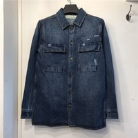 Luxurys Designer Mens Jacke Mode Flut Casual Blue Denim Weiße Mann Mantel Top Qualität High Street Sale Euro Version M-XL